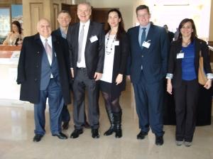 Miguel Rifa (CityMar Hotels), Roque Farias, Francisco Lizarza, Rocio M Lizarza, Javier Tellez (Caja Rural de Granada) y Manoli Caracuel.